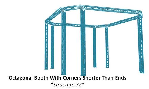 Octagonal Booth With Corners Shorter Than Ends Structure 32