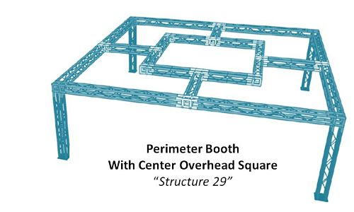 Perimeter Booth With Center Overhead Square Structure 29