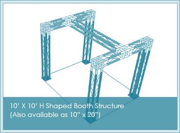 H shape four leg trade show booth