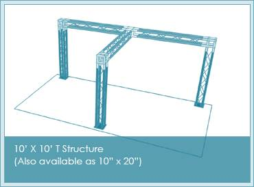 T shaped booth structure