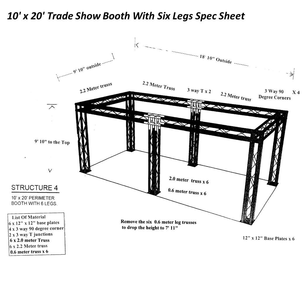 10 x 20 Trade Show Booth With Six Legs spec sheet