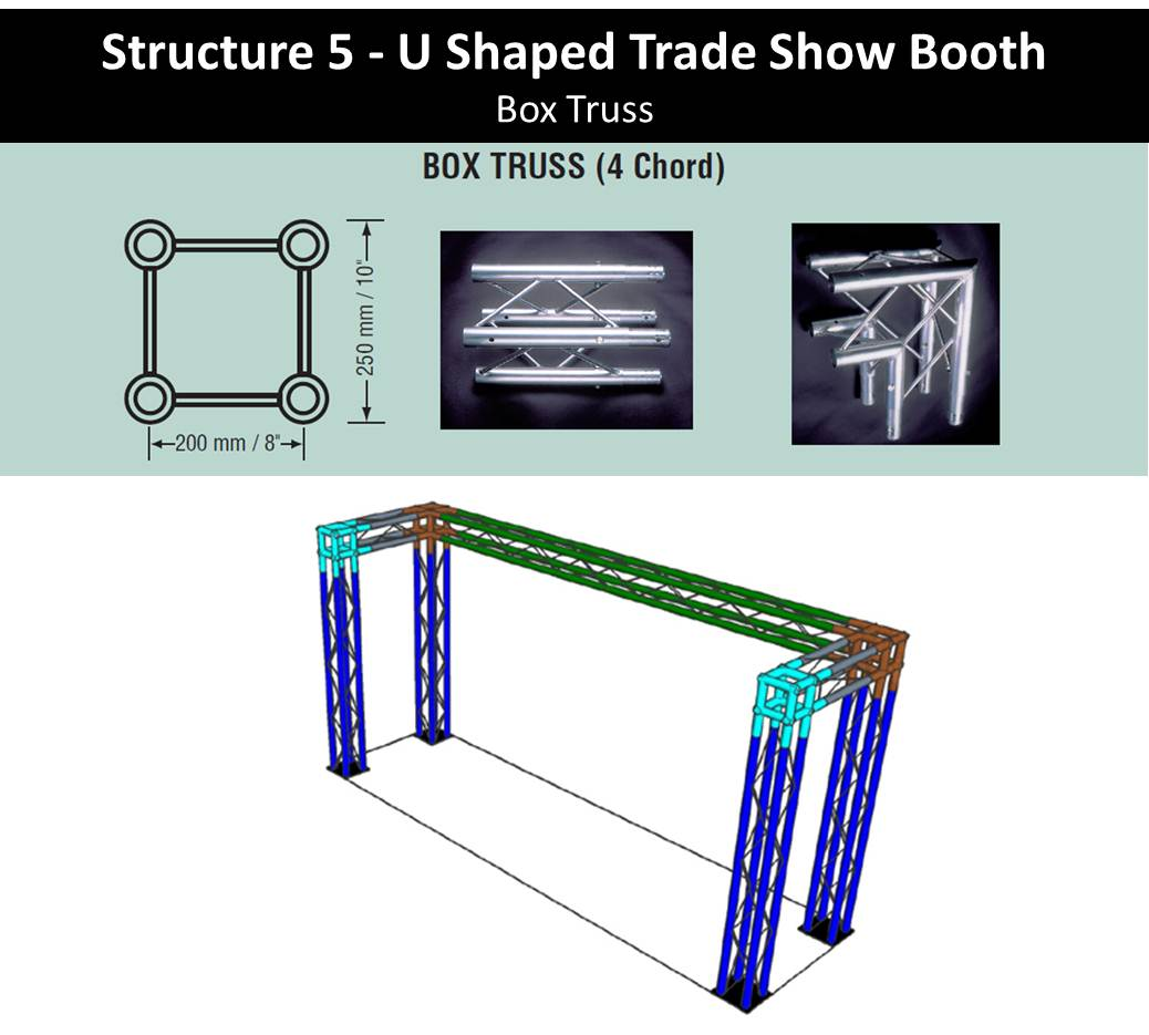 10' U Shaped Trade Show Booth Box Truss