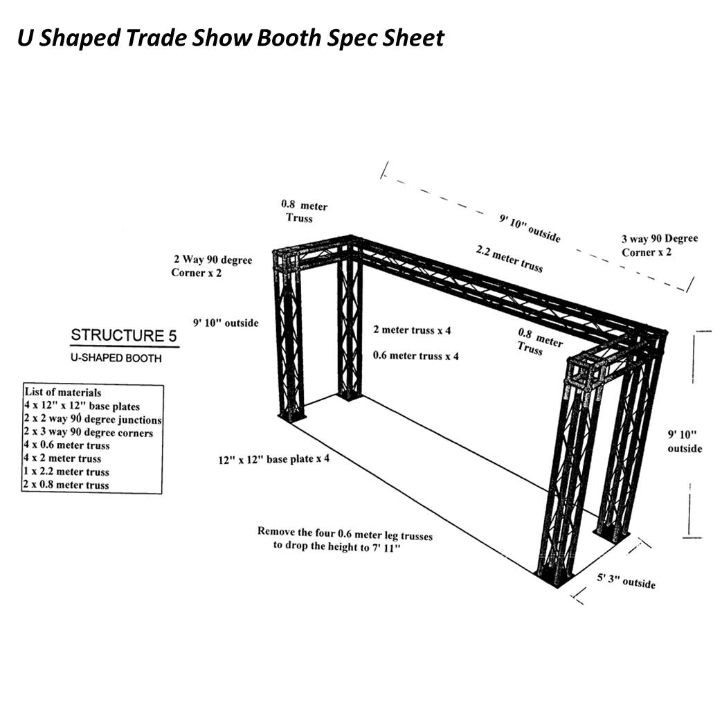 10' U Shaped Trade Show Booth Spec Sheet