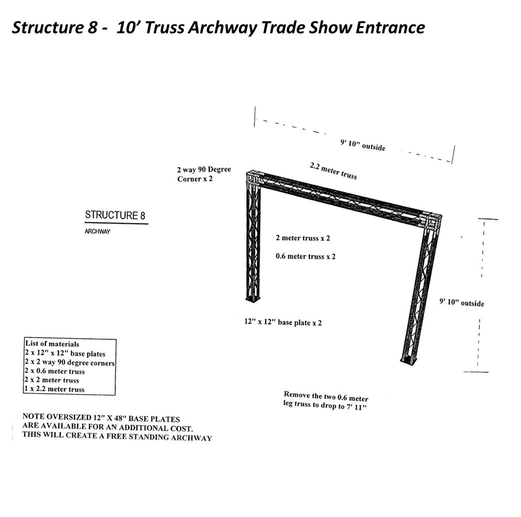 10' Trade Show Archway Spec Sheet