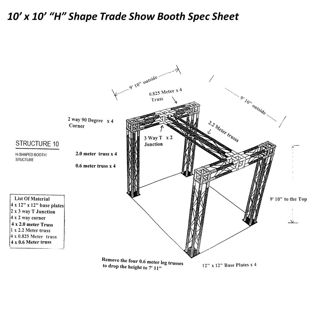 10 x 10 H Shaped Trade Show Booth Spec Sheet