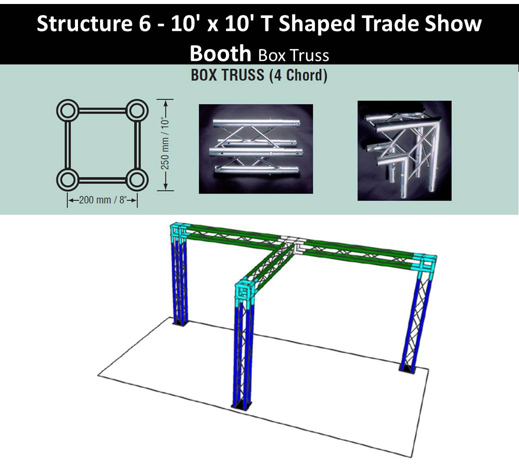 10 x 10 T Shaped Trade Show Booth box truss