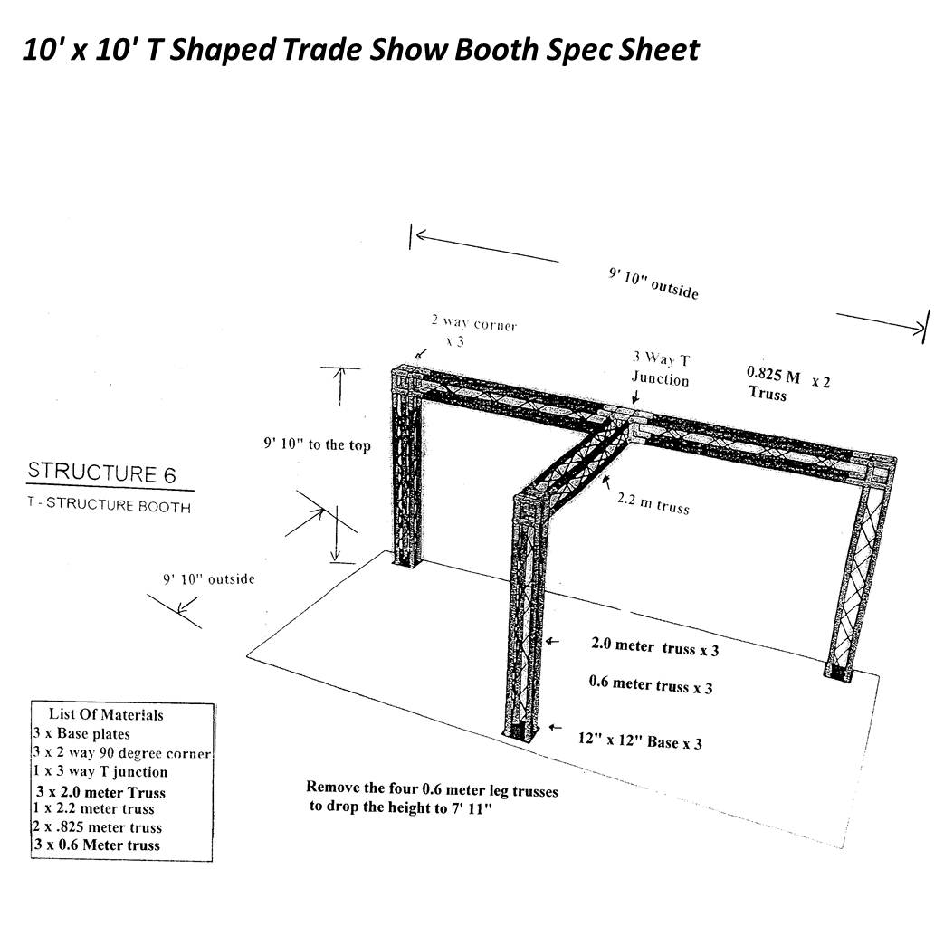 10 x 10 T Shaped Trade Show Booth Spec Sheet