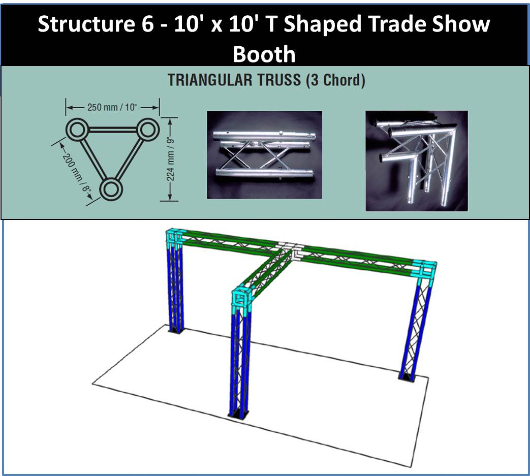 10 x 10 T Shaped Trade Show Booth Triangular Truss