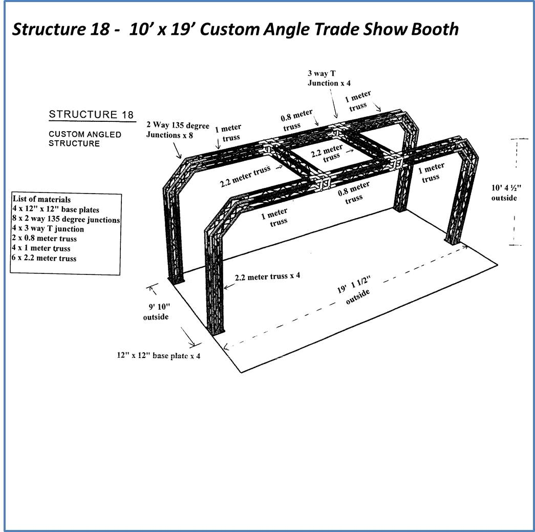 10 x 19 Custom Angle Trade Show Booth Spec Sheet