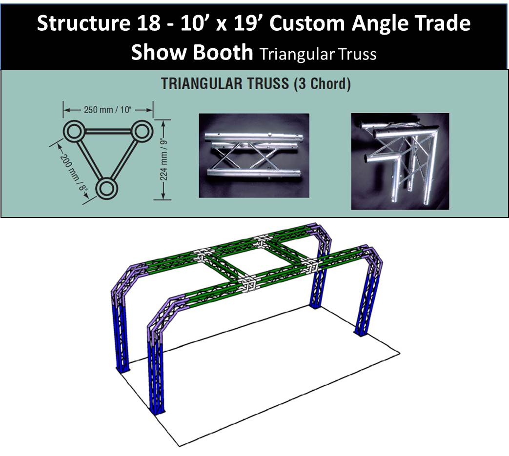 10 x 19 Custom Angle Trade Show Booth Triangular Truss