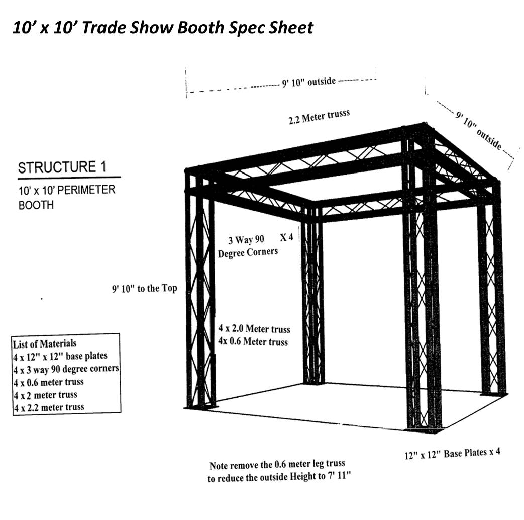 10x10 trade show booth spec sheet