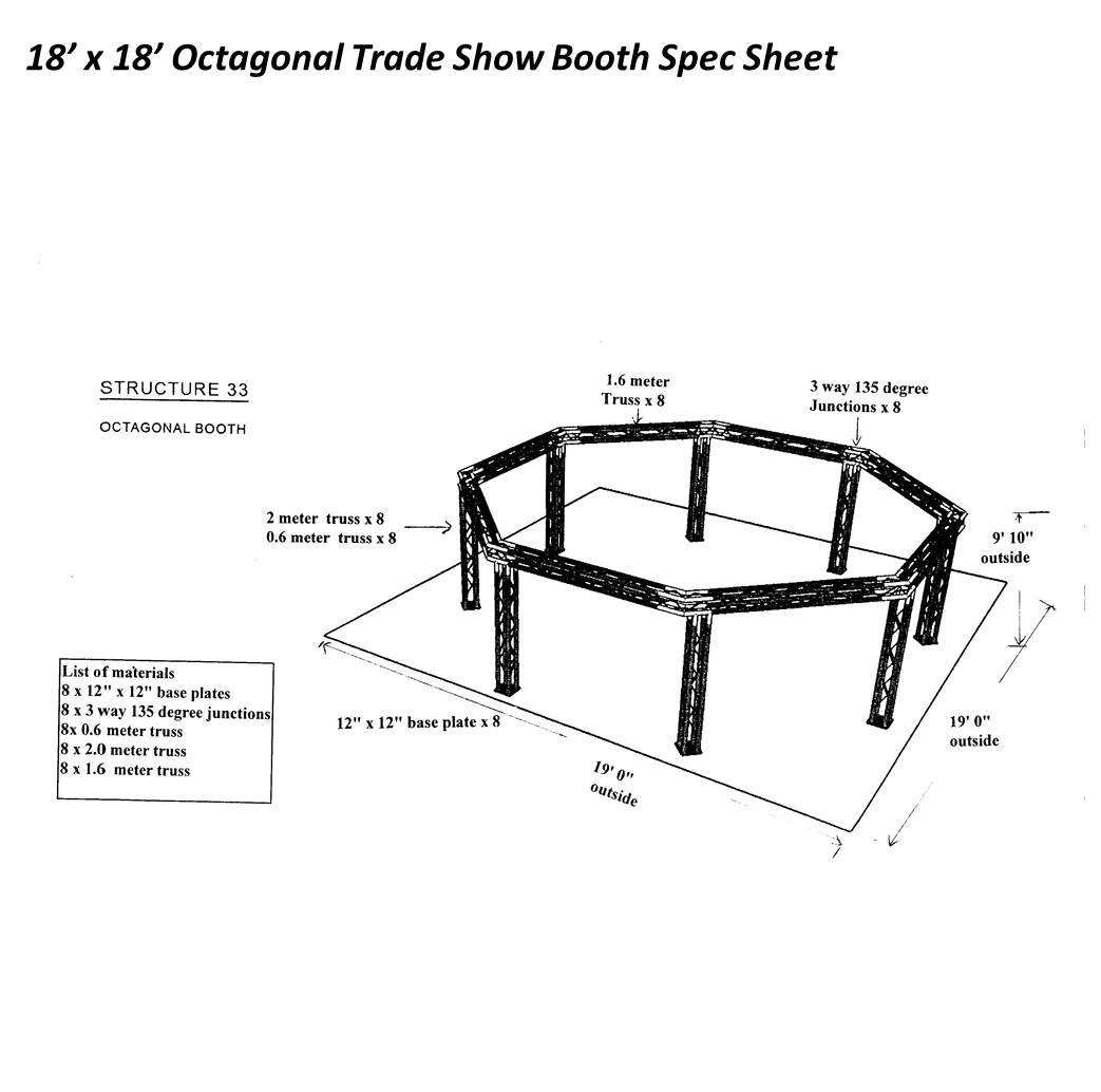 18 x 18 Octagonal Trade Show Booth Spec Sheet