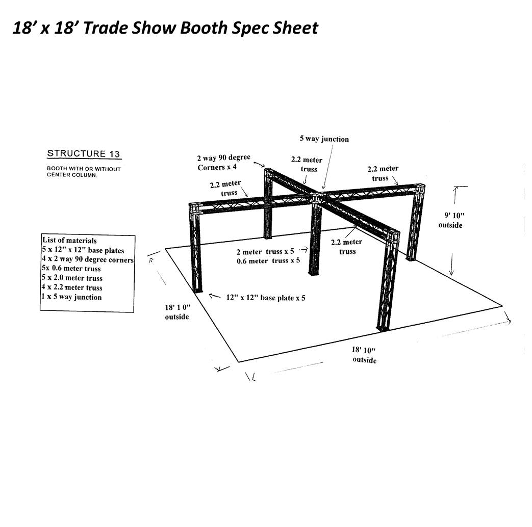 18 x 18 Trade Show Booth Spec Sheet with center post
