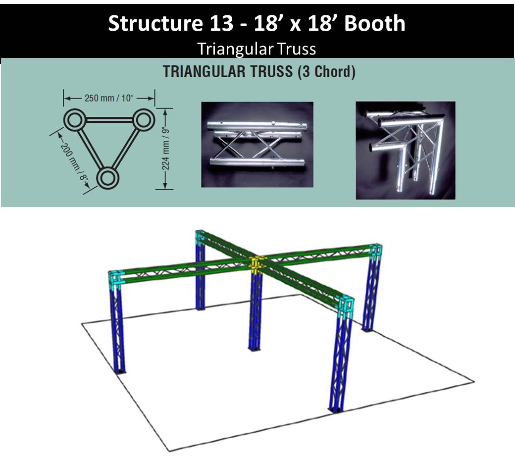 18 x 18 Trade Show Booth Tri Truss with center post