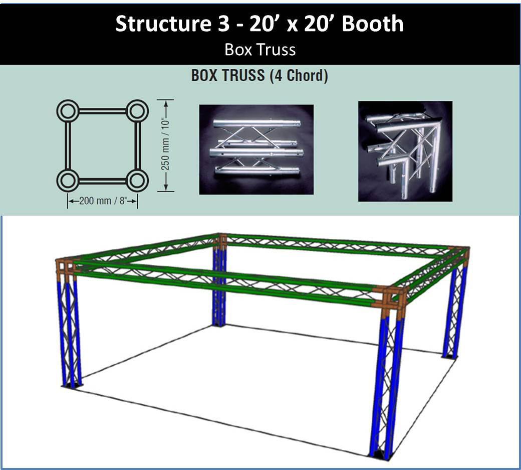 20 x 20 trade show booth box truss