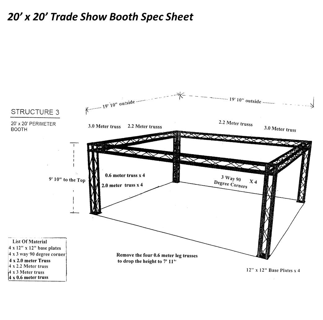 20 x 20 trade show booth spec sheet
