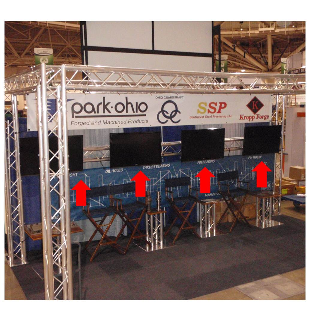 Flat Panel Monitor Mounts for Trade Show Booths in use