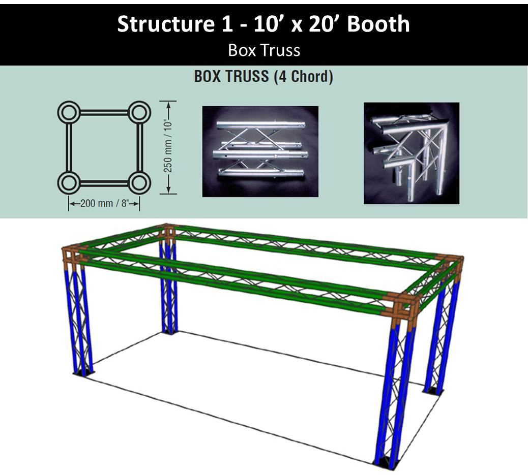 Trade Show Booth 10 x 20 with 4 legs-Box Truss