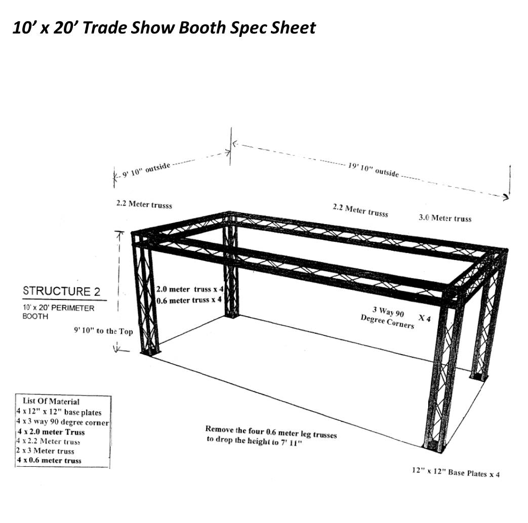 Trade Show Booth 10 x 20 with 4 legs-Spec