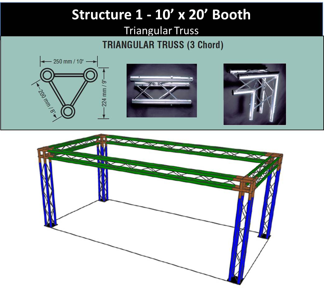Trade Show Booth 10 x 20 with 4 legs-Triangle-Truss