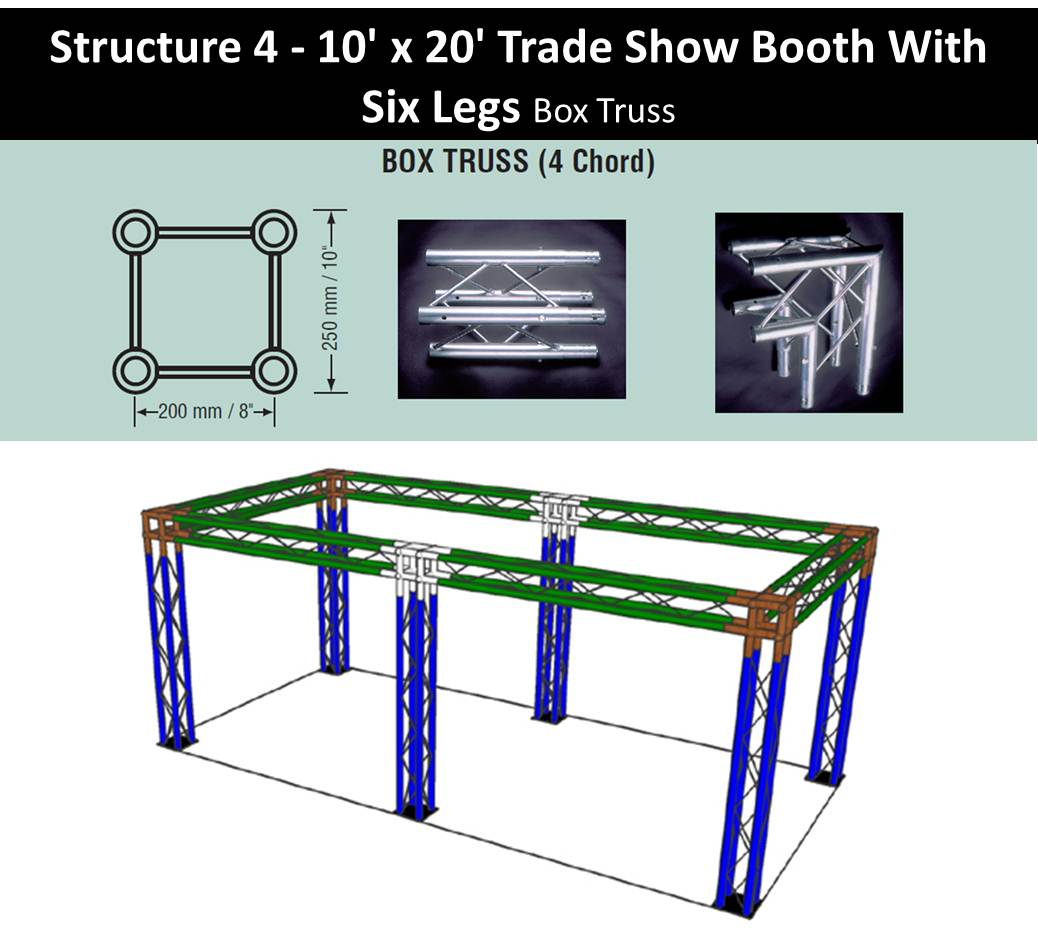 Trade Show Booth 10 x 20-with-six-legs-box-truss