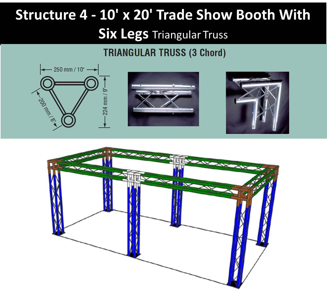 Trade Show Booth 10 x 20-with-six-legs-triangular-truss