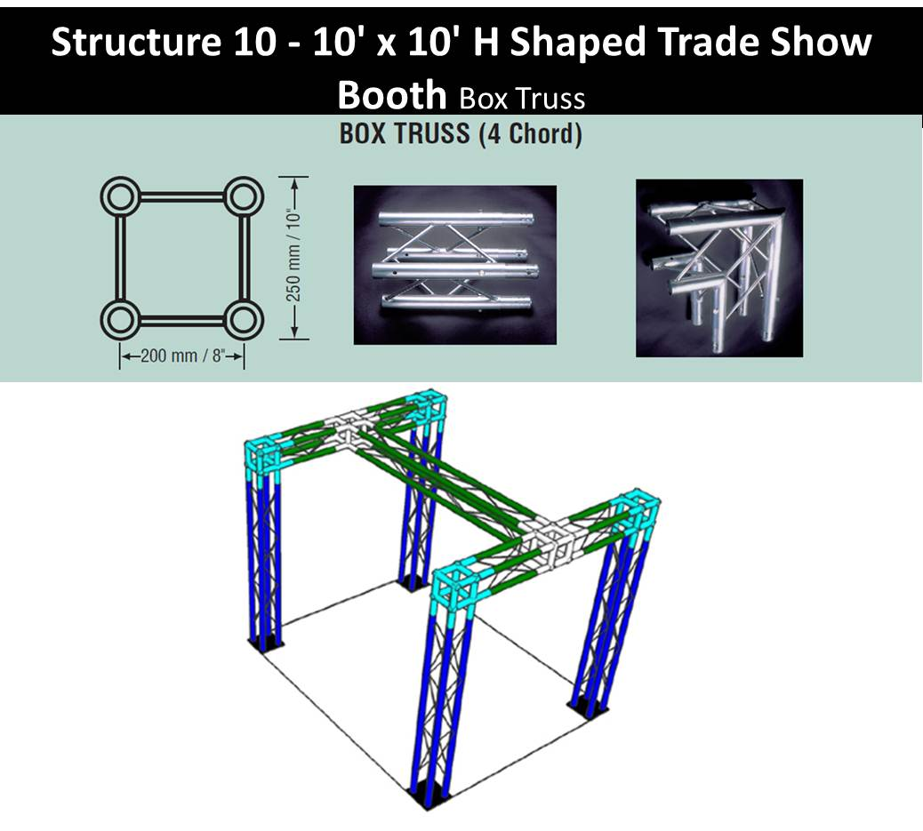 Trade Show Booth H Shape 10 x 10-Box-Truss