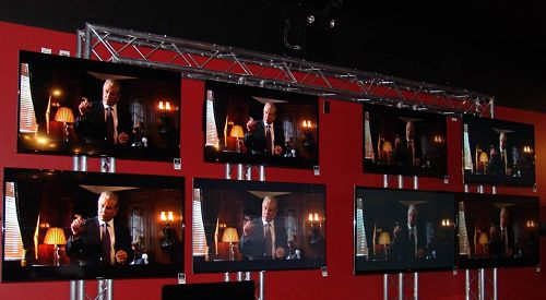 Visual Display News Museum Aluminum Exhibit Truss Museum Flat Panel News Monitors