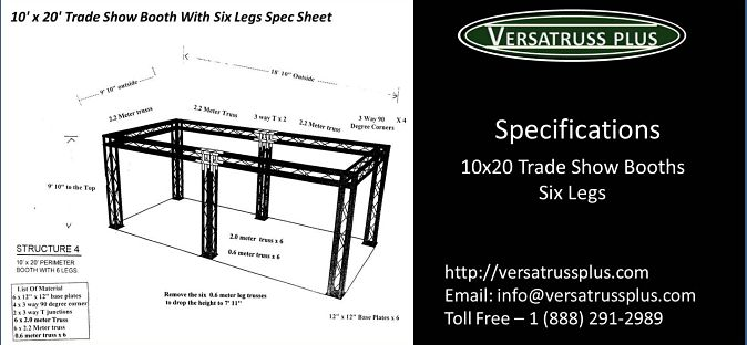 10x20 Trade Show Booths Six Legs Specifications